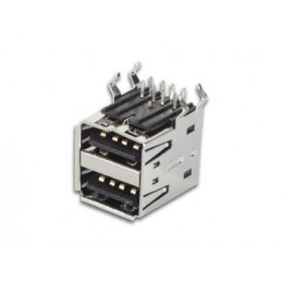 USB A type stack socket 90 w/shell