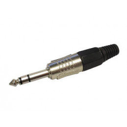 6.35mm professional male jack connector - stereo - black