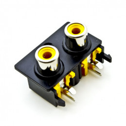 RCA Socket Plate 2way Mono R/A