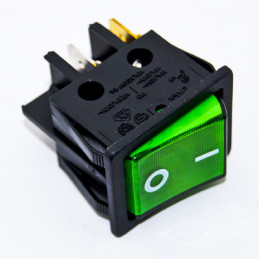 Rocker Switch 4P DPST Green illuminated