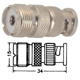 PL259 UHF Socket to BNC Plug Adaptor