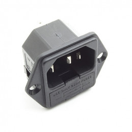 AC Connector IEC power chassis mount plug - fused 10A