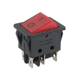 Rocker Switch 6P DPDT B127B Red Illuminated