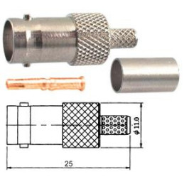 BNC socket crimp inline 6mm