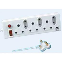 Multiplug Extender RSA 3 Way + 3 Euro Plug