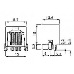 RJ45 Modular PCB Socket Shielded 16x16 (X98139SA)