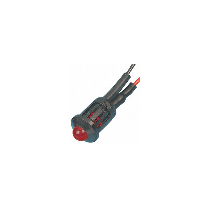 LED 5mm Red Flashing 12VDC - Complete with Holder