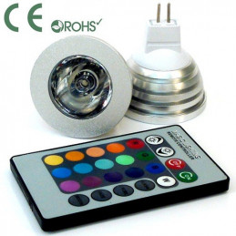 MR16 3W LED Downlight - RGB - 12V DC With Remote
