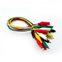 Set with 10 wires 50cm 5 colours with booted crocodile clips
