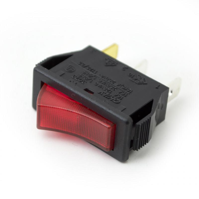 Rocker Switch SPST 3P Red with Light 220V 16A