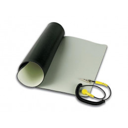 Antistatic table mat with grounding cord