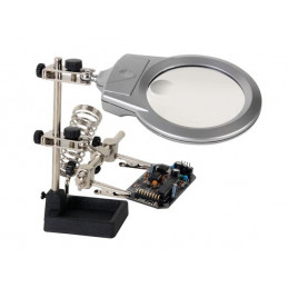 Helping hand with magnifier, led light and soldering stand