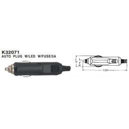 Car Cigarette Lighter Plug Fused w/LED