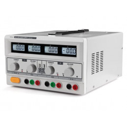 Dual DC lab power supply 2x 0-30 VDC / 0-3 A + 5 VDC fixed / 3 A