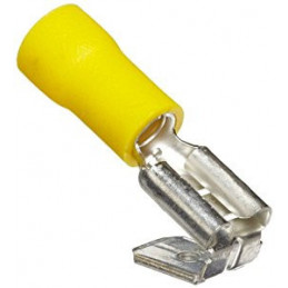 Insulated Disconnect Lug Female 6.4mm Yellow Piggyback