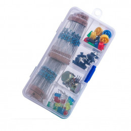 Electronics component pack with resistors, LEDs, Switch, Pots