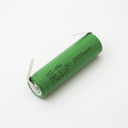 NiMH rechargeable battery AA - 2500mAh solder tag