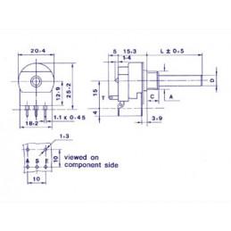 Potentiometer mono log 22k with switch