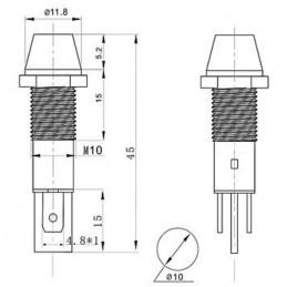 PL10 Led Indicator Light 220V AC 10mm Red