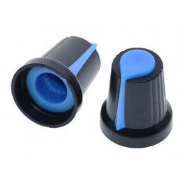 Knob plastic Insert type Blue 15mm