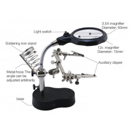 Helping hand with magnifier, led light and soldering Iron stand