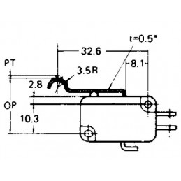 B180M micro switch SPDT ARCH LEVER 24mm TAG