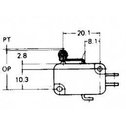 B180N micro switch SPDT ROLLER LEVER 12mm TAG