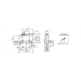 B175BP Mini micro Switch lever 14mm PCB