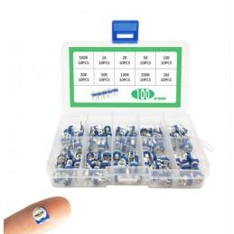 100pcs RM065 Horizontal Trimpot Potentiometer Assortment Kit